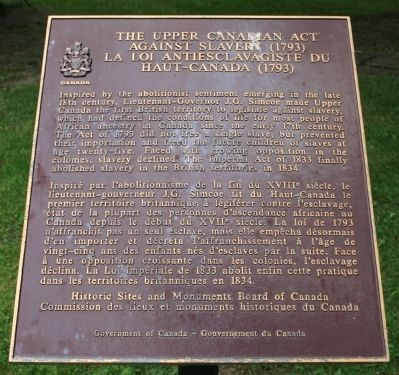The Upper Canadian Act Against Slavery (1793) Marker image. Click for full size.