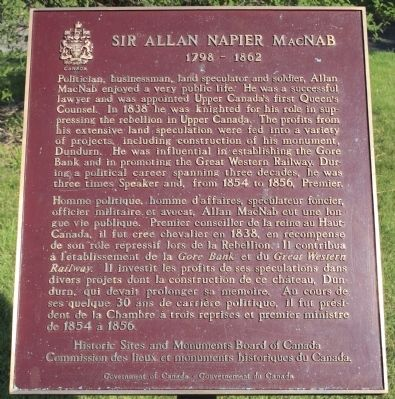 Sir Allan Napier MacNab Marker image. Click for full size.
