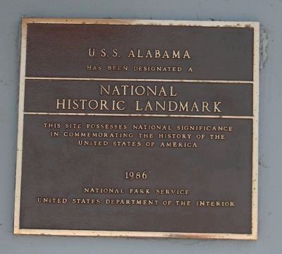 U.S.S. <i>Alabama</i> (BB-60) - a National Historic Landmark since 1986 image. Click for full size.