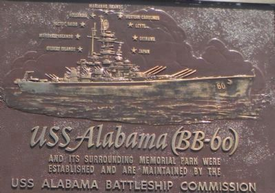 Rendering of U S S <i>Alabama</i> (BB-60) on the Alabama Battleship Commission panel image. Click for full size.