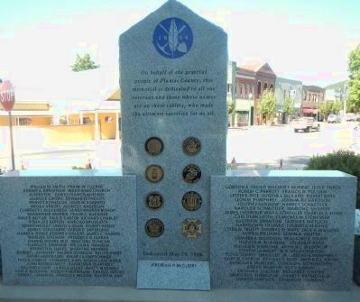 Plumas County Veterans Memorial Marker, Rear of Monument image. Click for full size.