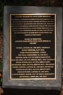 Greater Charleston Naval Base Memorial Marker image. Click for full size.