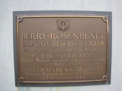 Berry-Rosenblatt US Army Reserve Center Marker image. Click for full size.