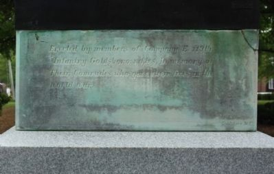 Company E, 119th Infantry, Goldsboro Rifles World War I Monument West face image. Click for full size.