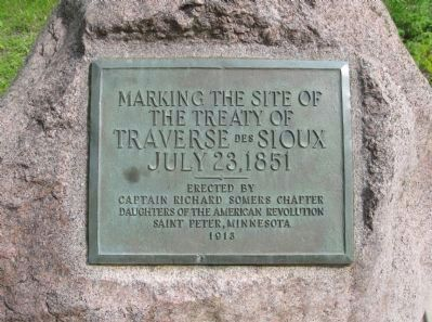Treaty of Traverse des Sioux Site Marker image. Click for full size.