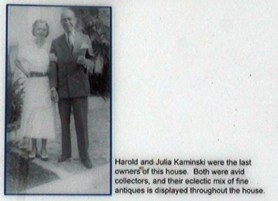 Harold and Julia Kaminski were the last owners of the house image. Click for full size.