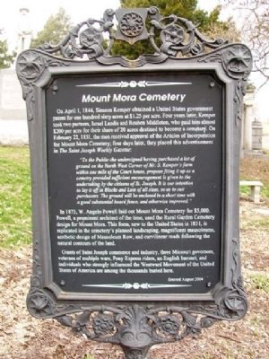 Mount Mora Cemetery Marker image. Click for full size.