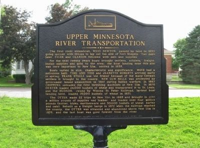 Upper Minnesota River Transportation Marker image. Click for full size.