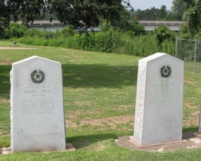 "The ""Site of Fort Bend"" Marker: to the right of the ""Site of the Home of Randal Jones"" Marker image. Click for full size."