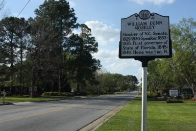William Dunn Moseley Marker looking northward along South Caswell Street image. Click for full size.