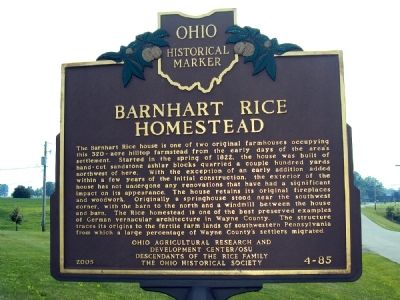 Barnhart Rice Homestead / Frederick Rice Marker image. Click for full size.