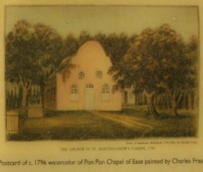Postcard of c. 1796 watercolor of Pon Pon Chapel of Ease painted by Charles Fraser image. Click for full size.