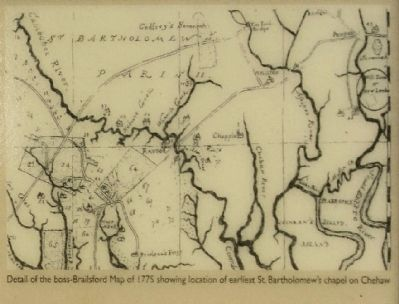 (Map of 1775 showing location of earliest St. Bartholomew's chapel on Chehaw) image. Click for full size.