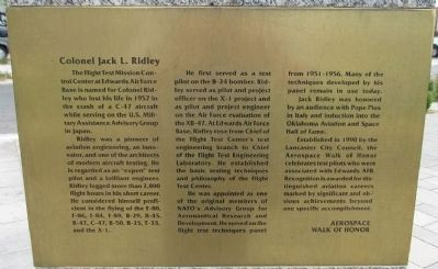 Colonel Jack L. Ridley Marker image. Click for full size.