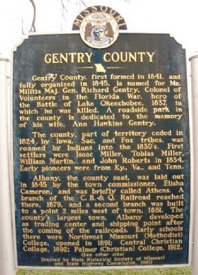 Gentry County Marker (front) image. Click for full size.