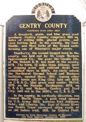 Gentry County Marker (back) image. Click for full size.