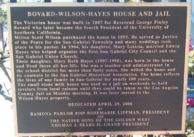 Bovard - Wilson - Hayes House and Jail Marker image. Click for full size.