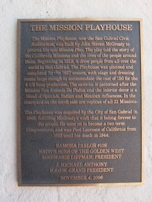 The Mission Playhouse Marker image. Click for full size.