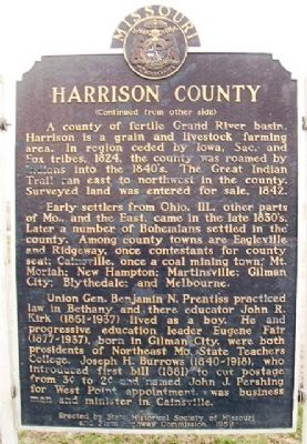 Harrison County Marker (back) image. Click for full size.