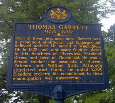 Thomas Garrett Marker image. Click for full size.