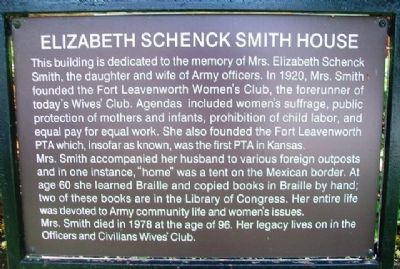 Elizabeth Schenck Smith House Marker image. Click for full size.