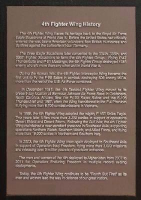 Second Seymour Johnson History AFB / 4th Fighter Wing History Plaque image. Click for full size.