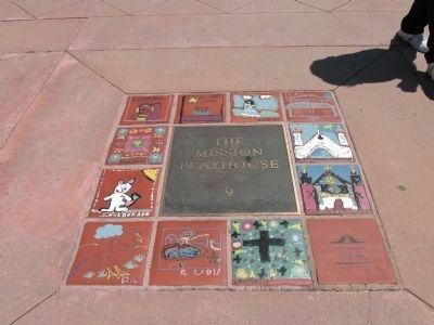 Plaque Tiles Mounted in the Sidewalk image. Click for full size.