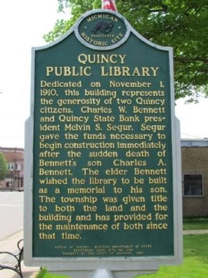 Quincy Public Library Marker (Back) image. Click for full size.