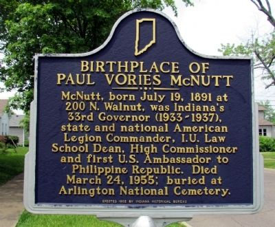 Birthplace of Paul Vories McNutt Marker image. Click for full size.
