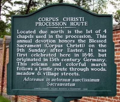 Corpus Christi Procession Route Marker image. Click for full size.