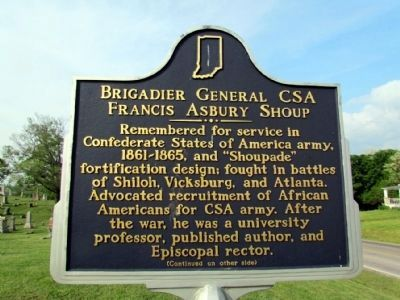 Brigadier General CSA Francis Asbury Shoup Marker (Front) image. Click for full size.