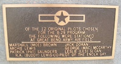 Original B-29 Pilots At Great Bend Army Air Field Marker image. Click for full size.