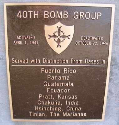 40th Bomb Group Marker image. Click for full size.