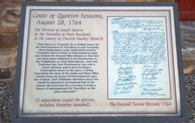 Court of Quarter Sessions, August 28, 1764 Marker image. Click for full size.