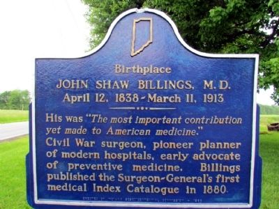 Birthplace of John Shaw Billings, M.D. Marker image. Click for full size.