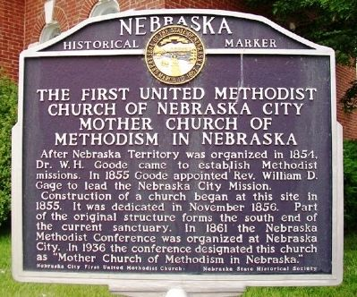 Mother Church of Methodist in Nebraska Marker image. Click for full size.