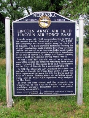 Lincoln Army Air Field - Lincoln Air Force Base Marker image. Click for full size.
