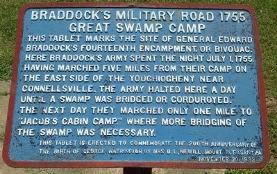 Braddock's Military Road 1755 - Great Swamp Camp Marker image. Click for full size.