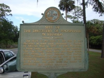 Site of the Discovery of Phosphate in Florida Marker image. Click for full size.