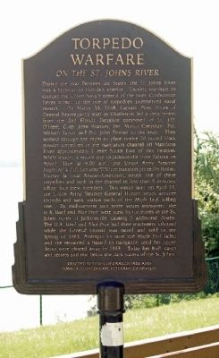 Torpedo Warfare on the St. Johns River Marker image. Click for full size.