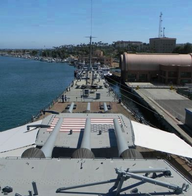 USS <i>Iowa</i> (BB-61) ; view over the bow and Turret 1 from atop Turret 2 image. Click for full size.