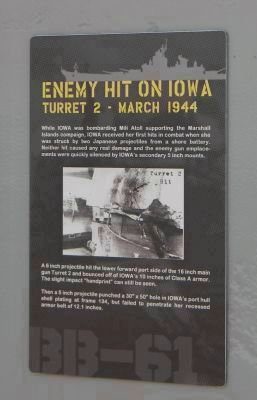 """Enemy Hit on Iowa: Turret No. 2 - March 1944"" image. Click for full size."