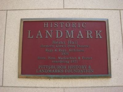 Heinz Hall Marker image. Click for full size.