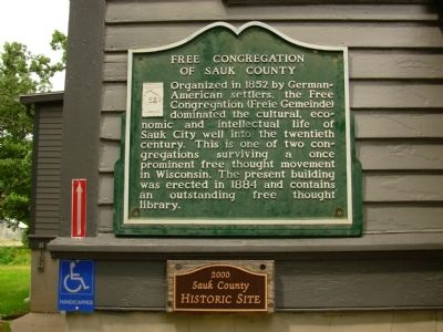 Free Congregation of Sauk County Marker image. Click for full size.