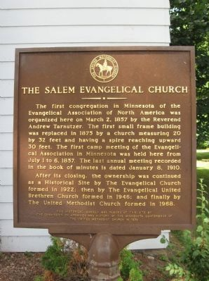 The Salem Evangelical Church Marker image. Click for full size.
