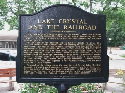 Lake Crystal and the Railroad Marker image, Click for more information