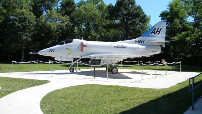 "Douglas A-4 ""Skyhawk"" on display at the Naval Training Center near the Great Lakes Naval Museum image. Click for full size."