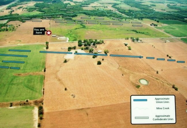 Photo on Mine Creek Battlefield Aerial Overlay Marker image. Click for full size.