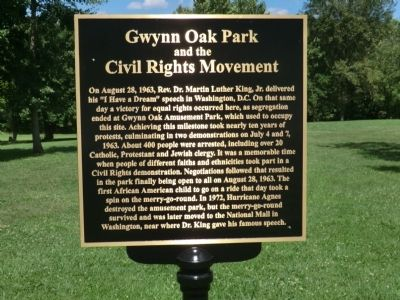 Gwynn Oak Park and the Civil Rights Movement Marker image. Click for full size.