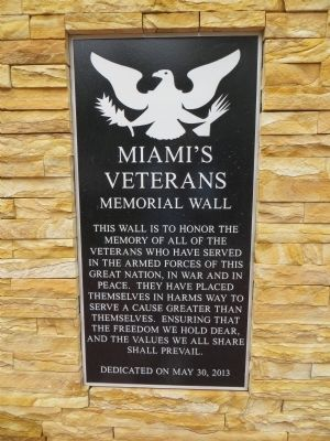 Miami's Veterans Memorial Wall Marker image. Click for full size.